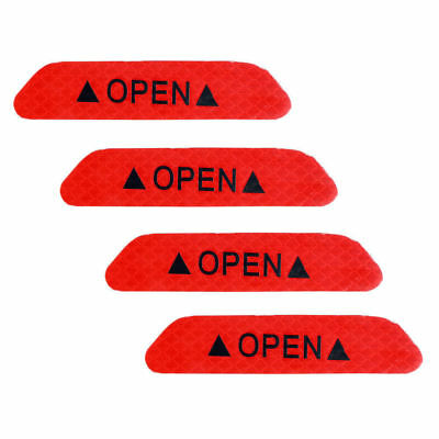 Red 4PCS Super Car Door Open Sticker Reflective Tape Safety Warning Decal 4