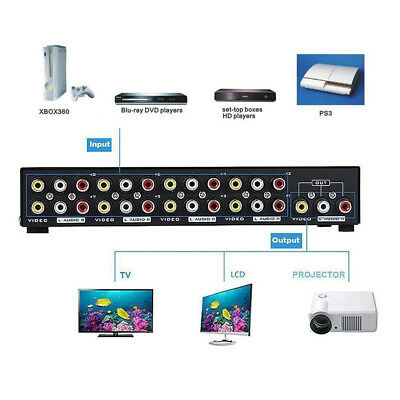 AV Switch Box Composite Selector 8 Port RCA Audio Video 8 In 1 Out To TV 9