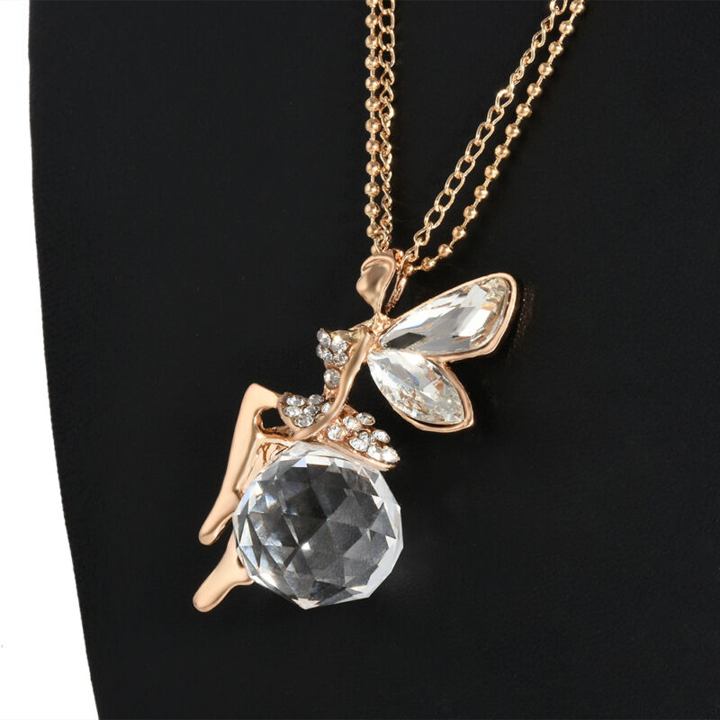 Fashion Women Jewelry Crystal Fairy Angel Wing Pendant Long Chain Necklace Gift 9