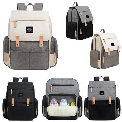 Genuine LAND Large Mummy Maternity Baby Diaper Bag Backpack insulated pockets