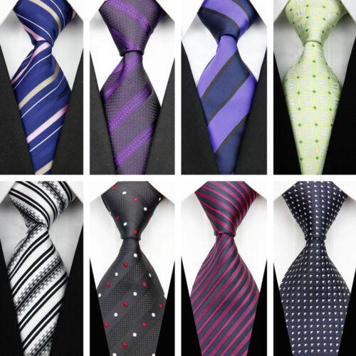 Blue Grey Black Red White Purple Wedding Stripe Plaid Dots Necktie Silk Mens Tie 7
