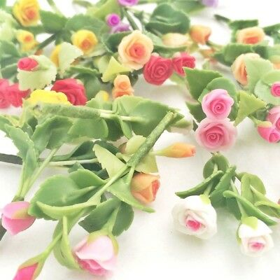 10 Clay Pink Yellow Red White Orange Purple Col Lily Flowers Miniature Dollhouse