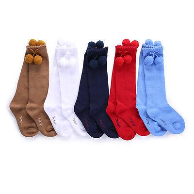 Toddler Girls Pom Pom Socks Children Kids Knee High School Party Socks 5 Colors 2