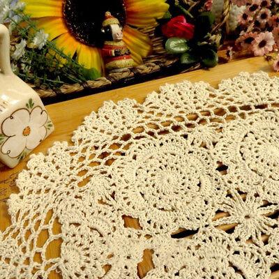 "Vintage Handmade Crochet Doilies Oval Lace Doily Table Runner Mats Ecru 11""x17"" 2"