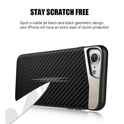 for iPhone 7/8 & 7+/8+ PLUS - Magnetic BLACK Carbon Fiber TPU Rubber Case cover 7