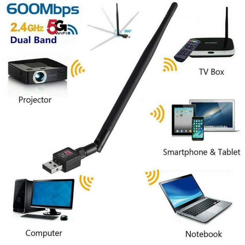 1200Mbps Wireless USB Wifi Adapter Dongle Dual Band 2.4G/5GHz with Antenna Call 5