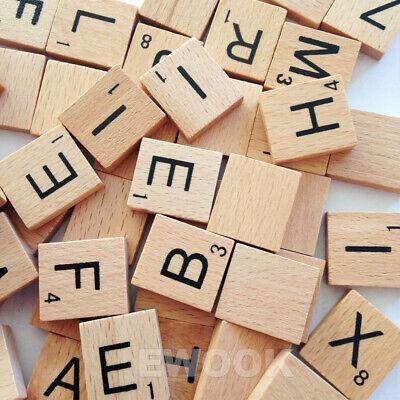 200PCS Wooden Alphabet Scrabble Tiles Black Letters & Numbers For Crafts Wood 10