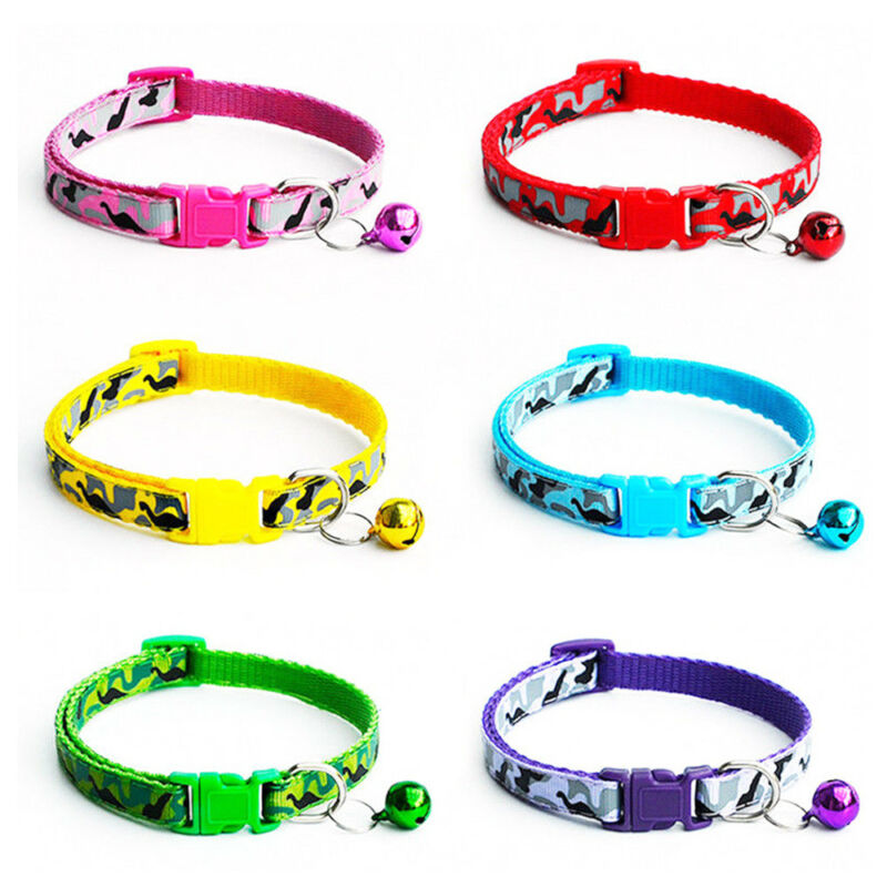 Adjustable Reflective   Nylon Cat Safety Collar with Bell for Cat Kitten 4