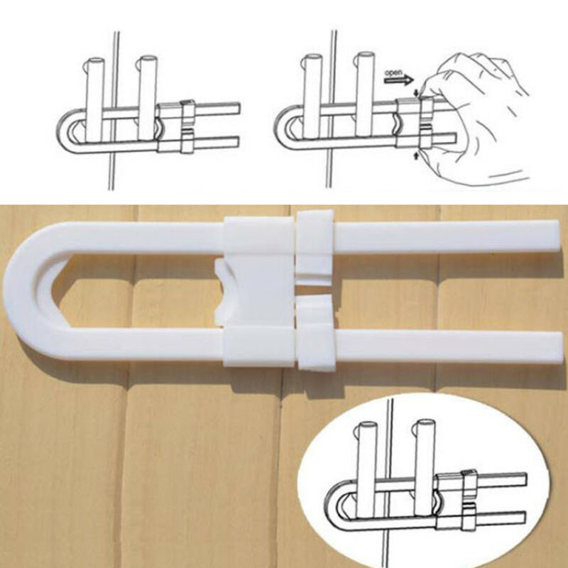 Toddler U Shape Safety Cabinet Door Drawer Lock For Child Baby Kid 2