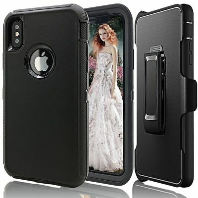 Case Cover For iPhone X  iPhone XS w /Holster Clip Hybrid Shockproof Heavy Duty 5