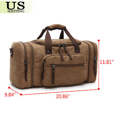 Canvas Travel Tote Luggage Large Men's Weekend Gym Shoulder Duffle Bag & Strap 9