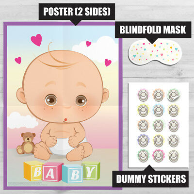 Pin the Dummy on the Baby Game • Baby Shower Party Games Boy Girl Unisex PIN2