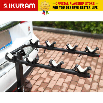 "IKURAM 4 Bicycle Carrier Bike Car Rear Rack 2"" TowBar Steel Foldable Hitch Mount 2"