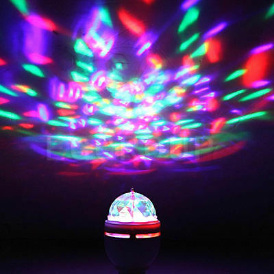E27 B22 E14 RGB Crystal Ball Auto Rotating LED Stage Light Bulb Disco Party Lamp 6