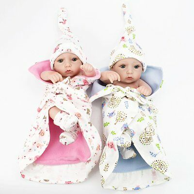 "Lifelike Twins Baby Dolls Full Vinyl Silicone Real Life Doll Babies Girl Boy 10"" 6"