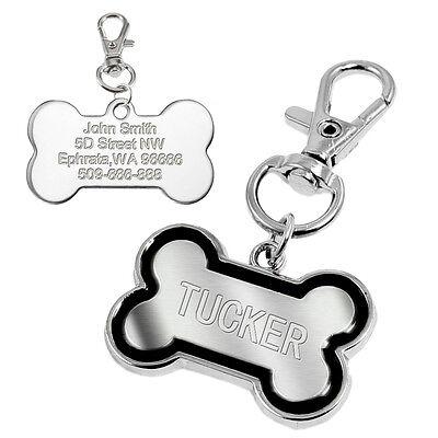 Bone Shape Pet Dog Tags Engraved Dog Cat Phone Tag Free Clicker Whistle 6