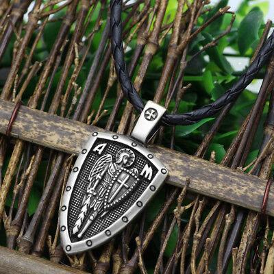 Archangel Saint St Michael Protect Us Medal Cross Shield Amulet Pendant Necklace 5