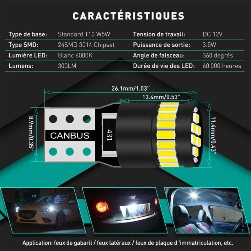 2X T10 501 194 W5W SMD 24 LED Car CANBUS Error Free Wedge Light Bulb White 5
