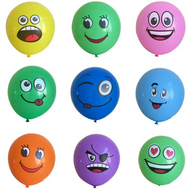 10pcs Latex Balloons Printed Big Eyes Smiley Happy Birthday Party Decoration 6