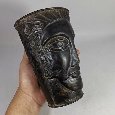 Antique Greek Roman Head Carved Bronze Mug Goblet Cup Jug Pitcher Unique #469 5