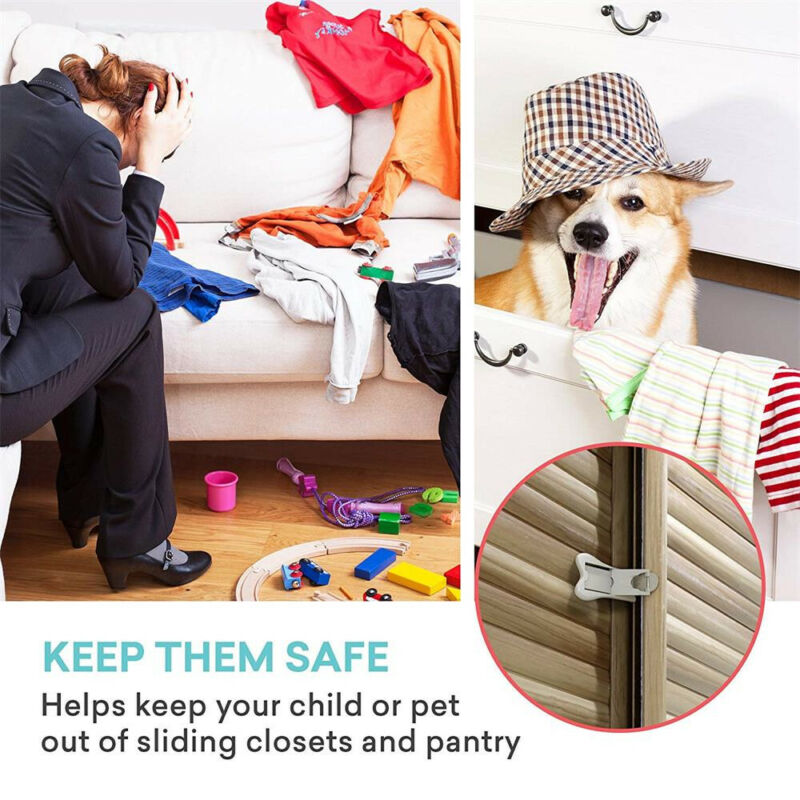 2Pcs Sliding Door Lock for Child Safety Baby Proof Doors & Closets Childproof 9