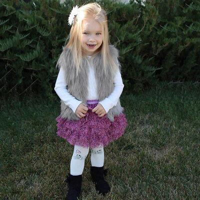 Baby Girls Kid Winter Faux Fur Waist Gilet Jacket Outwear Vest Coat Waistcoat AE 3