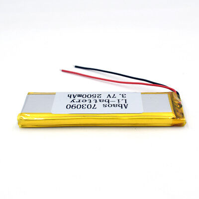 3.7V 2500mAh 703090 Li-Polymer Rechargeable Cell Li-ion LiPo Battery for GPS MP3 10