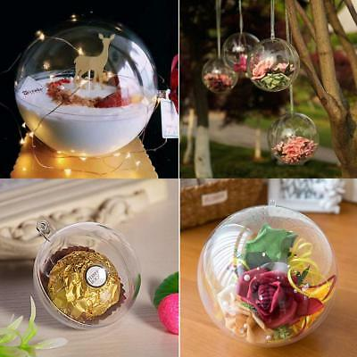 200Pcs Clear Plastic Christmas Balls Baubles Sphere Fillable Xmas Tree Ornament 7