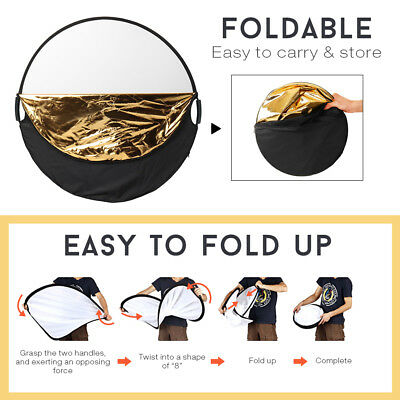 110CM 5in1 photo reflector With Handle Grip Studio Photography Light Collapsible 4