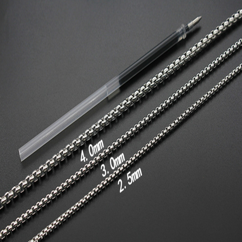 Man Women 316L Stainless Steel 2mm/3mm/4mm/5mm Silver Round Box Chain Necklace 2
