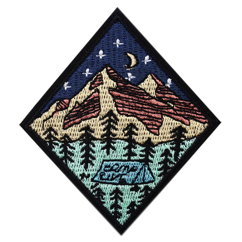 Outdoor Camping Embroidered Patch Nature Loving Badges Iron On Appliques 7