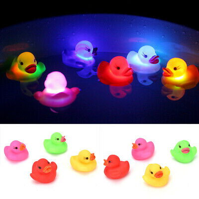 3PCS LED Flashing Light Rubber Floating Duck Bath Tub Shower Toy For Kids Child