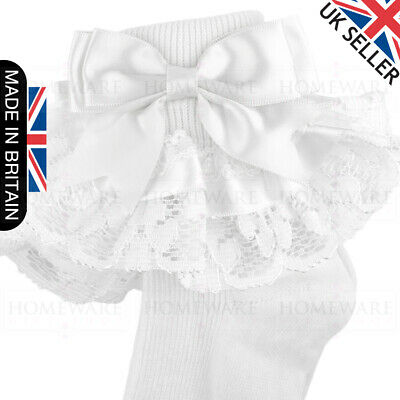 Girls Baby Spanish Bow Socks Double Ribbon Bow Frilly Lace Ankle Socks New Kids 3