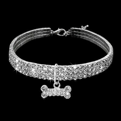 Bling Rhinestone Dog Necklace Collar Diamante & Pendant for Pet Puppy Chihuahua