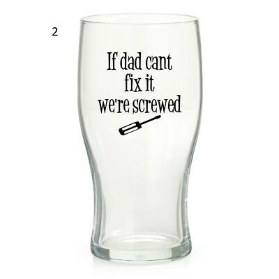 Dad Fathers Day Pint Wine Glass Vinyl Sticker Only 6 Designs Birthday Gift