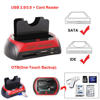 "Hard Disk Drive Dock Dual 2.5"" 3.5"" SATA IDE HDD Docking Station OTB Card Reader"