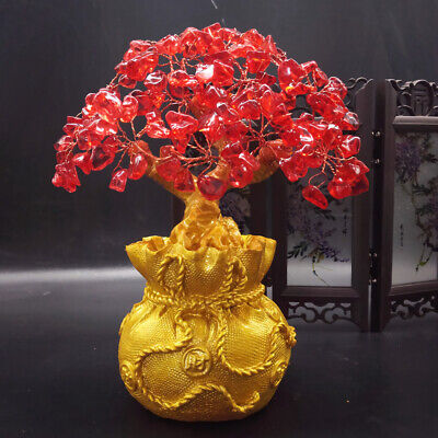 Feng Shui Money Wealth Tree Yellow Citrine Amethyst Crystal Gem Spiritual Lucky 12