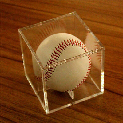 1X Acrylic Baseball Display Case Tennis Ball Care Cube Box Holder UV Protection 2