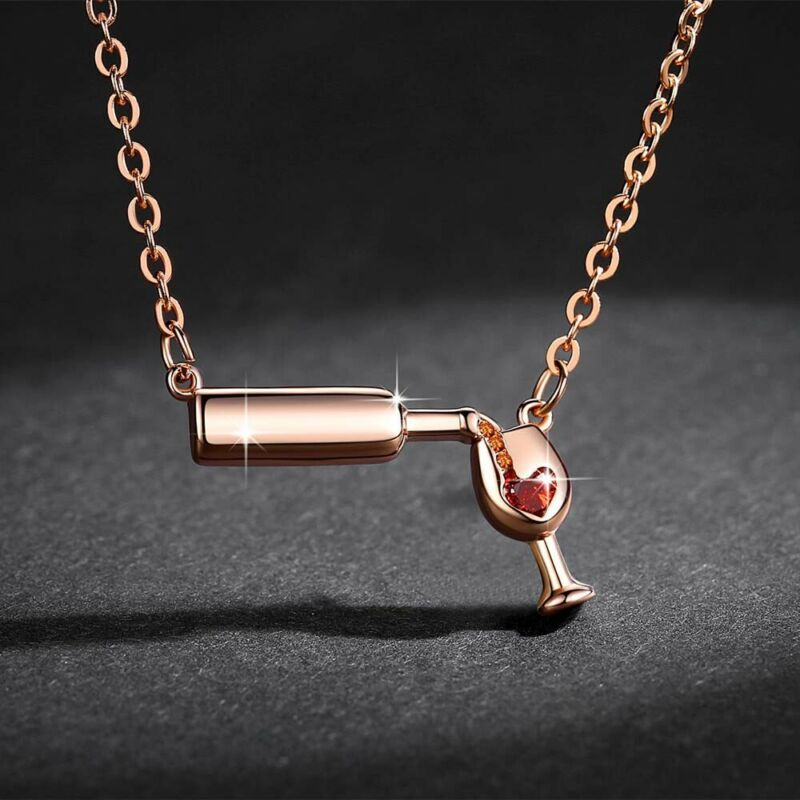 Love Wine Women Pendant Necklace Woman Jewelry Pendant Cubic Necklace Zirconia, 6