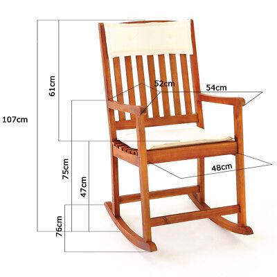 Fauteuil Chaise A Bascule Bois Dur Rocking Chair Meuble Jardin Coussins Amovible 6