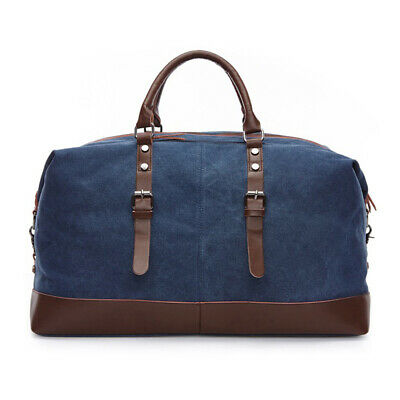 Vintage Men's Canvas Leather Travel Duffle Bag Shoulder Weekend Luggage Gym Tote 5