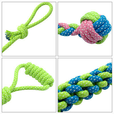 Braided Cotton Rope Pet Dog Interactive Toys for Dogs Chews Bite Training Play 3