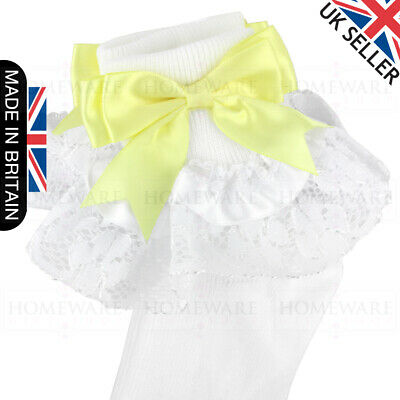 Girls Baby Spanish Bow Socks Double Ribbon Bow Frilly Lace Ankle Socks New Kids 5