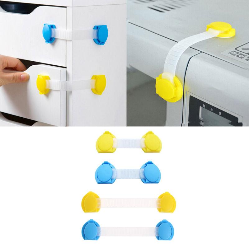 5pc Baby Adhesive Safety Latches Door Cupboard Cabinet Fridge Drawer Lock Strap 3