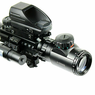 4-12X50 EG Tactical Rifle Scope with Holographic 4 Reticle Sight & Red Laser JG8 7