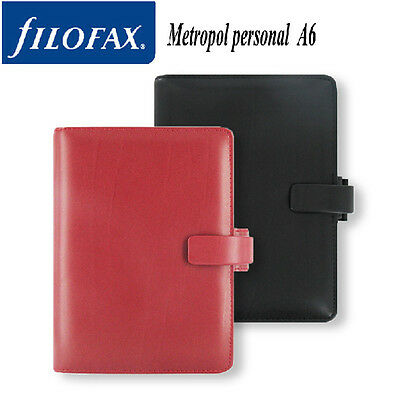 FILOFAX Leather PERSONAL SIZE Diary Metropol Organiser Planner Red CrCR0Pd