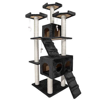 Arbre à chat griffoir grattoir 186cm NOIR 6 • EUR 77,90