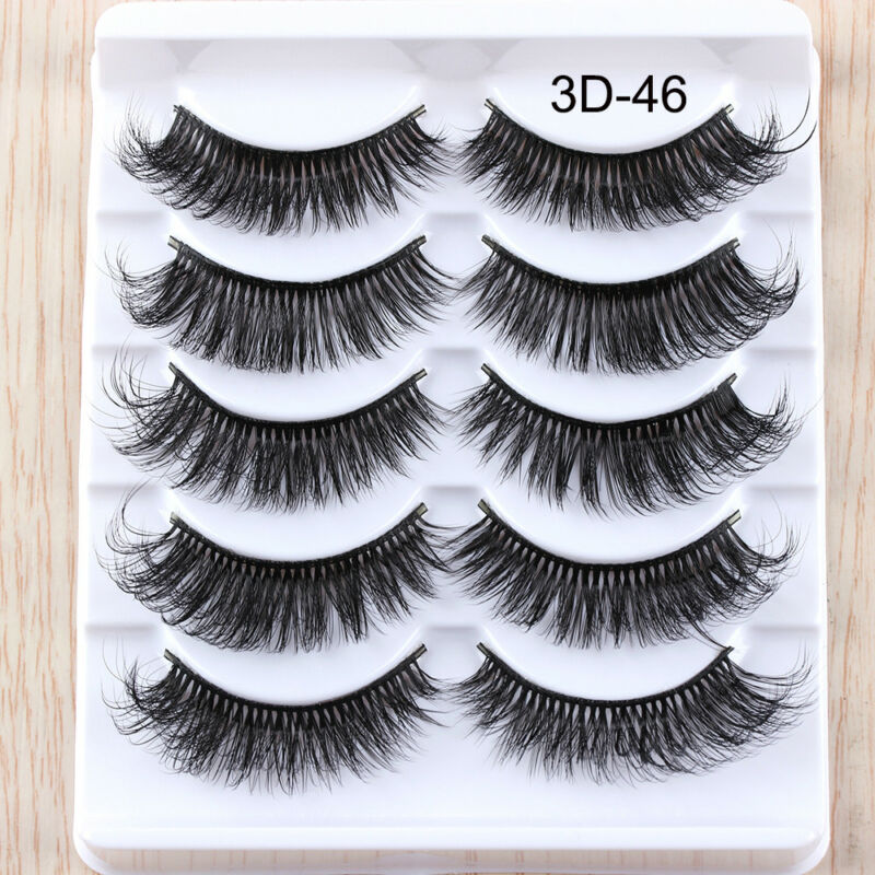 5Pairs 3D Faux Mink Hair False Eyelashes Extension Wispy Fluffy Think Lashes. 8