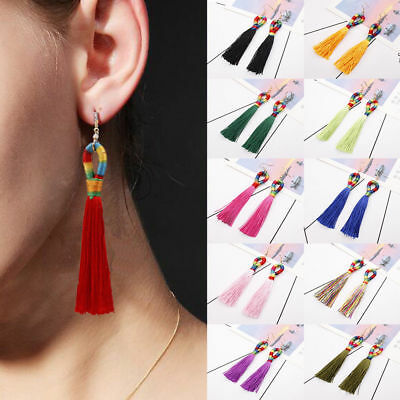 Fashion Women Bohemian Long Tassel Fringe Boho Ear Stud Dangle Earrings Jewelry 6