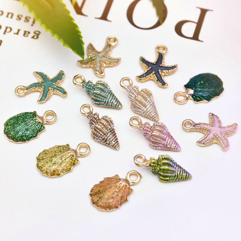 13 Pcs/Set Ornaments Charms Metal Conch Sea Shell Pendants DIY Jewelry Making 2
